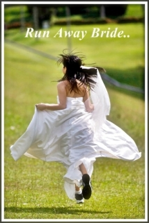 A woman in her wedding dress runs away in training shoes